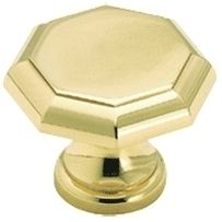 Solid Polished Brass Octagonal Cabinet Knob BOX of 25